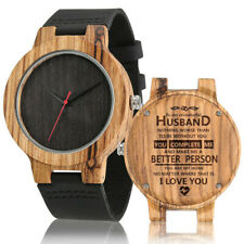 Engraved To My Husband Handmade Wooden Quartz Watch for Men Leather Bracelet