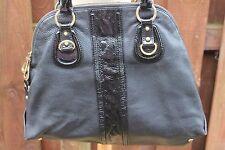 EPISODE Shopper Hobo Slouch Tote School Work Shoulder Bag Black & Patent Leather