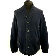 Ted Baker Mens Cardigan Jumper SMALL Long Sleeve Blue Knit Sweater Cotton Blend