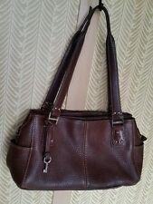 True Vintage Fossil Leather Weekender Purse Satchel Handbag Pebble Brown