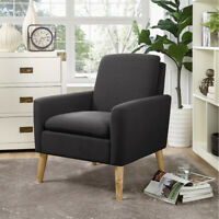 Accent Fabric Chair Single Sofa Comfy Upholstered Arm Chair Black Modern Design