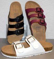 Damen Tieffußbett Comfort Leder PANTOLETTEN 37 38 39 40 41 schwarz/pink/weiß NEU
