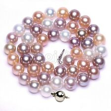 8MM Natural Multicolor Akoya Cultured Shell Pearl Round Beads Necklace 18'' AAA