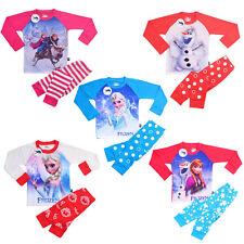 Frozen Elsa Anna Olaf girls long sleeve pyjamas nightwear sleepwear t-shirt+Pant