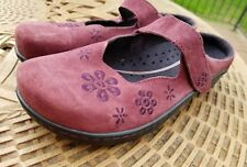 KLOGS Size 11M Suede Leather Clog Slides Mary Jane Shoes Embroidered Floral