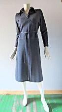 Vintage Margit Brant 1970s Grey Wool Jersey Dress Kinetic International sz 8 10