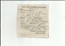 Prusse / Linz 31 Decbr 1838, Carré Postschein sur Fr. Geldsendung