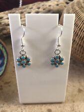 Zuni Petit Point Turquoise & Sterling Silver Dangle Earrings