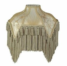 Victorian Fringed Lamp Shade Beige and Champagne Wild Rose Design Vintage Style