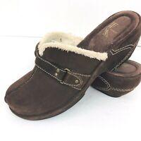 White Mountain Brown Suede Shearling  Size 7.5 Deborah Mule Clog Shoe