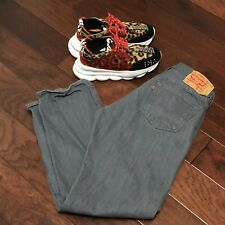 mens levi strauss 501 button fly jeans size 36 x 34 grey