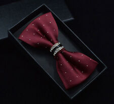 Burgundy Red Silver Clear Crystal Metal Spotted Luxury Formal Prom Bow Tie