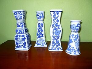Set of 4 Blue & White Floral Design Candle Holders Varing Sizes Tapered Candles