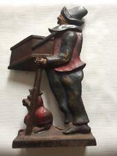 ANTIQUE MONKEY MUSIC MAN ORGAN GRINDER CAST IRON ART STATUE WEIGHT DOORSTOP