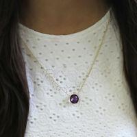 Natural Amethyst Round 18kt Yellow Gold Pendant Bezel Set Minimalist Necklace