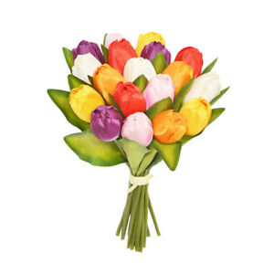 Artificial Silk Tulip Posy Assorted Colours 18 Stems 30cm