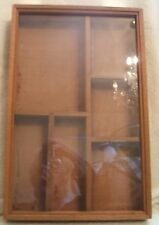 Vintage Wood and Glass Hanging Shadow Box Printer Tray 10 Inches by 16 Inches