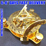 Brass SUNDIAL COMPASS w/ Leather Case Pirate Antique SUN - Dial Nautical Compass