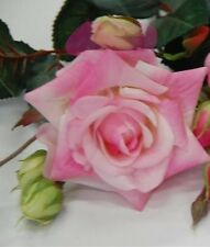1 x Artificial Flower Latex Real Touch Light Pink Open Rose Stem