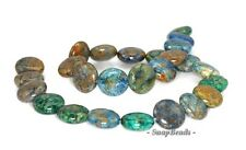 16MM CHRYSOCOLLA GEMSTONE GREEN BLUE FLAT ROUND CIRCLE COIN LOOSE BEADS 7.5""