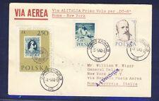 46477) Italien LAI FF Rom - New York 2.6.60, sp.cover SoU ab Polen R!
