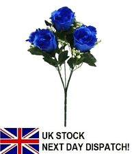 35cm Artificial BLUE Rose Bouquet With GYP Flowers 5 Head Floral Fake Valentines