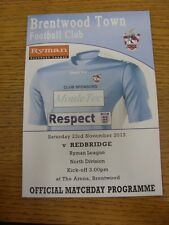 23/11/2013 Brentwood Town v Redbridge  . Thanks for viewing this item, we try an