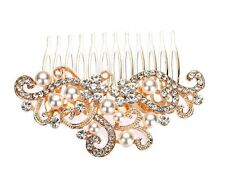 Bridal Wedding Clear Crystal And Pearl Hair Clip Comb Head Piece Rose Gold
