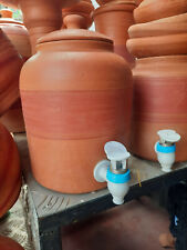 Terracotta Clay Water Storage & Dispenser Pot Tank Container With Lid Matka
