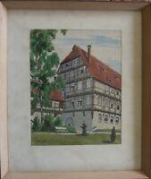 ::AQUARELL °FACHWERKHAUS IM SOMMER°LANDSCHAFT ARCHITEKTUR MONOGR. W.A. DAT. 1948