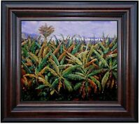 Framed, Renoir, Pierre Banana Trees Repro. Hand Painted Oil Painting 20x24in