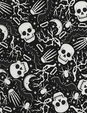 Timeless Treasures Glow Skulls & Spiders 100% cotton fabric by the yard