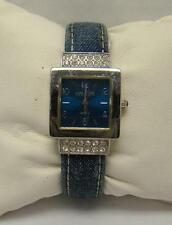 JOAN RIVERS CLASSICS SIGNED BLUE DENIM CRYSTAL BEZEL CUFF BANGLE WATCH ST STEEL
