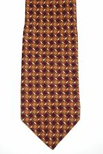 Paul Stuart Charming Shades of Earthtone Browns Woven Pattern Silk Neck Tie
