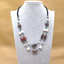 "Necklace  Genuine RED  JASPER & ROSE QUARTZ  BIB Style  [ 20 1/8"" ] NEW"