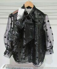 ZARA Black Polka Dot Organza Pussy Bow Blouse NEW Size S