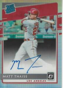 Matt Thaiss Los Angeles Angels 2020 Panini  Donruss Optic Rated Rookie Autograph