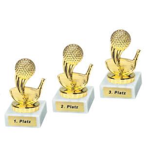 3 Golf/Minigolf-Pokale mit 1.2.und 3.Platz oder Wunschgravur (P0322)