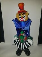 VINTAGE MURANO ART GLASS ITALY CLOWN PLAYING ACCORDION great detail figurine