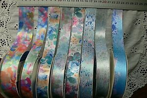 Gorgeous FLORAL Silk Satin 24 & 38mmWide 3Metres 7Colours/Styles Choice AMcD H4B