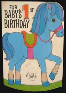 Vintage Die Cut Stand Up Blue Pony Baby's 1st Birthday Forget me not Greeting