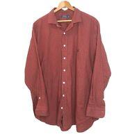 Ralph Lauren Men's 3XB BIG Classic Fit Button Down Checkered Pony Shirt Red