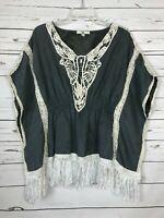 Ya Los Angeles Boutique Women's M Medium Gray Ivory Lace Boho Poncho Top Blouse