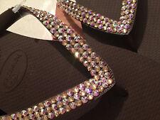 Havaiana Top Classic Flip Flop Sandals Swarovski Crystal Custom 2 Colour Mix