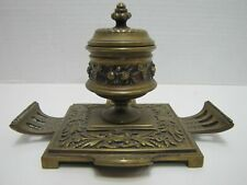 Antique Decorative Arts Brass Inkwell Ornate Detailing As-Is