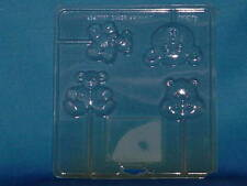 CANDY MOLD Teddy Bears 4 molds Clear Plastic Sheet