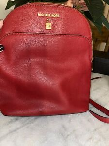 Michael Kors Adele Large Leather Backpack Bag with Lock Detail in Scarlet Red