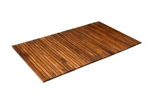 Nordic Style Oiled Teak String Shower Spa Bath Mat with Rubber Footing 59″ x 35″