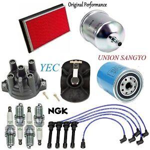 Tune Up Kit Filters Cap Spark Plugs Wire FIT Nissan 240SX L4; 2.4L 1991-1994