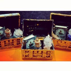 Miniature Dollhouse Treasure Island Book Pendant Gemstones Let In Bottle Glass